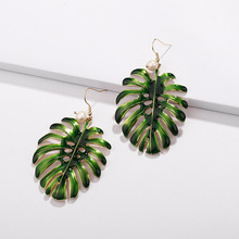 2018 Fashion INS Popular Green Enameled Metal Monstera Plant Tree Big Leaf Earrings Women Jewelry