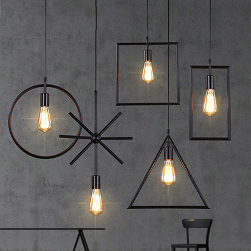 цена American LOFT Industry Style Black Iron Pendant Light Simple Creative Lamps For Bar&Coffee Shop Home Lighting E27 Bulb