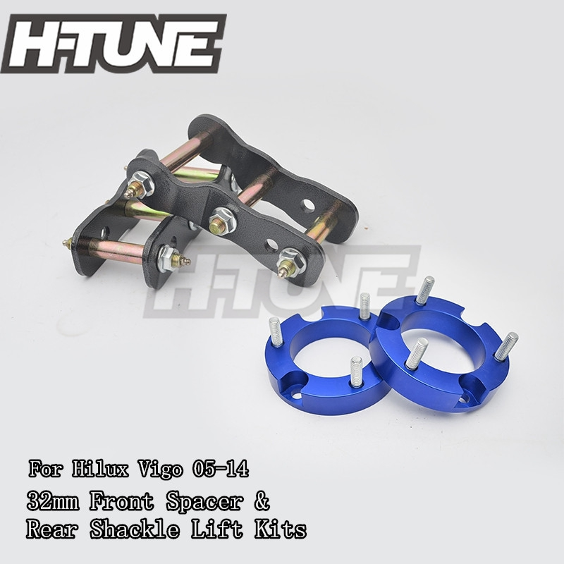 H-TUNE 4x4 Accesorios 32mm Front Coil Spacer and Rear Extended 2 Greasable Shackles Lift Up Kits 4WD For Hilux Vigo 05-14 h tune 4x4 accesorios 32mm front spacer and rear extended 2 inch g shackles lift up kits 4wd for triton l200 mk ml 06 14
