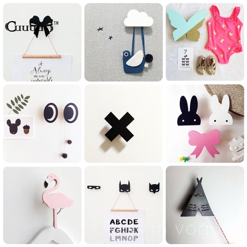 GUUUUO Nordic Style Wooden Clothes Wall Hook For Kid Baby Room Decoration Wood Hanger Hook For Clothes In Door Decorative Hanger