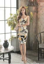 vestidos 2018 Freeshiping New Korean High quality Hot style Printing Sexy  Square-neck Slim Package buttocks dress.