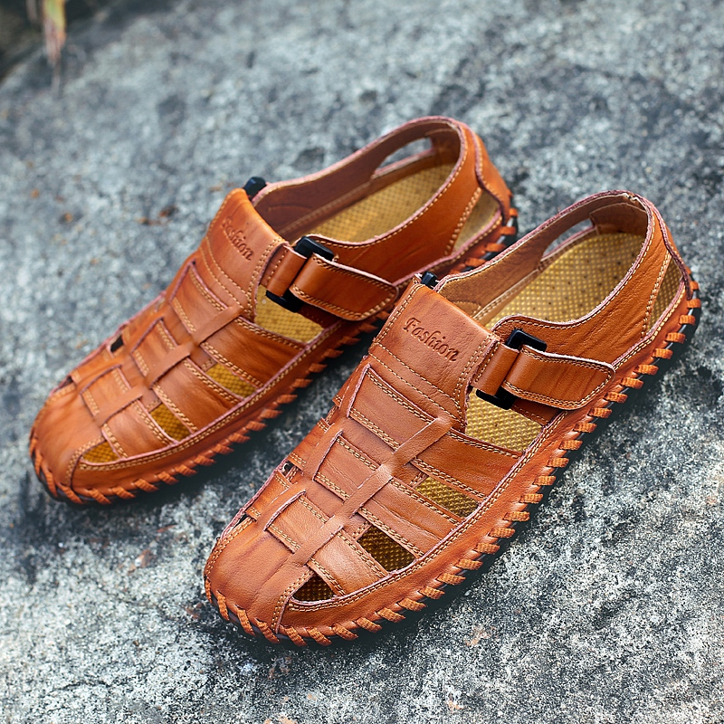 Men Sandals Casual-Shoes Big-Size Genuine-Leather Beach Summer High-Quality New Leisure