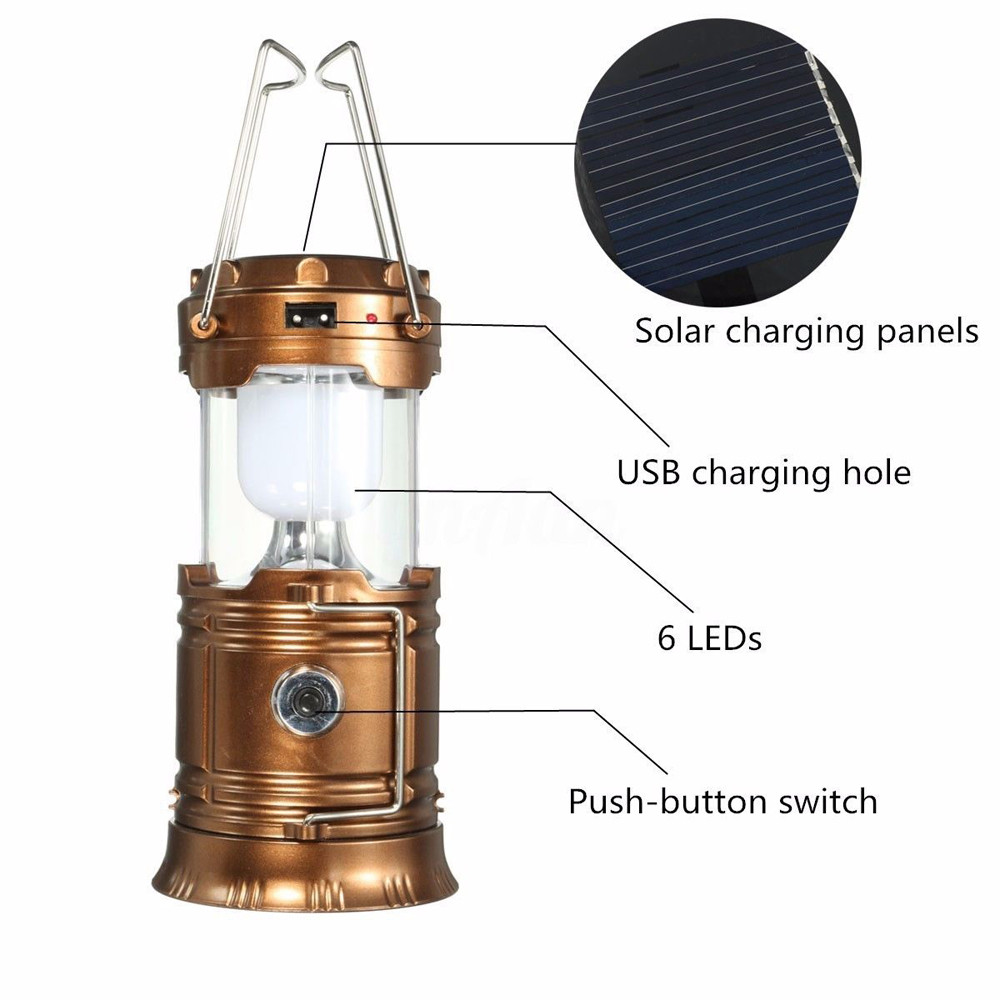 Retractable Solar Rechargeable LED Flashlight Power Camping Tent Light Torch Lantern Lamp portable home emergency light charging