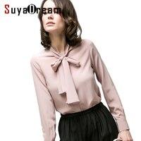 100% REAL SILK blouse Women long sleeve CHIFFON SILK OFFICE Blouse shirt Blusas femininas Bow tie collar 2018 NEW Fall top