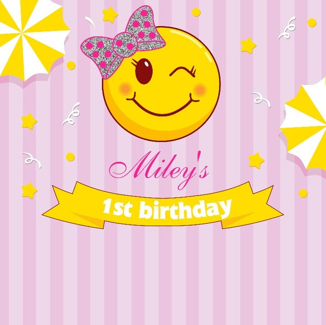 Custom Emoji Birthday Pink Striped Star Photo Studio Background High Quality Computer Print Party Backdrop