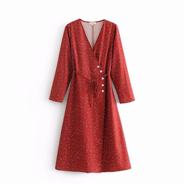 V-neck Lace-up Women Vintage Dress Dot Printed 2018 Autumn Rouje Buttons Warp Dress Women Casual Midi Dress cwd0208-5