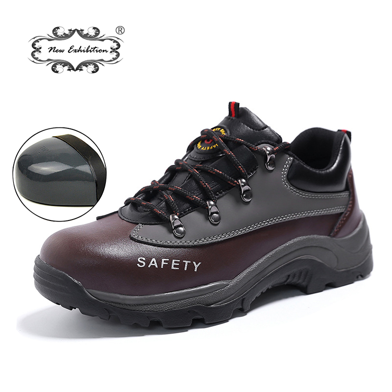 New exhibition Casual Men Steel Toe Safety Shoes fashion PU Microfibero leather Work  Boots Martins bot Zapatos Hombre