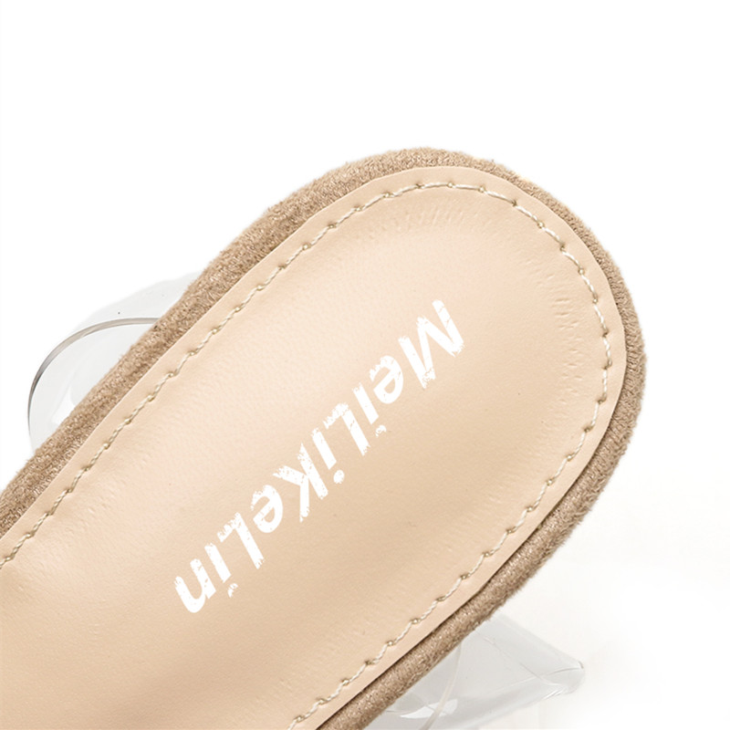 d2e23ec91 2018 New Design Splicing Women Pointed Toe Pumps Buckle Transparent ...