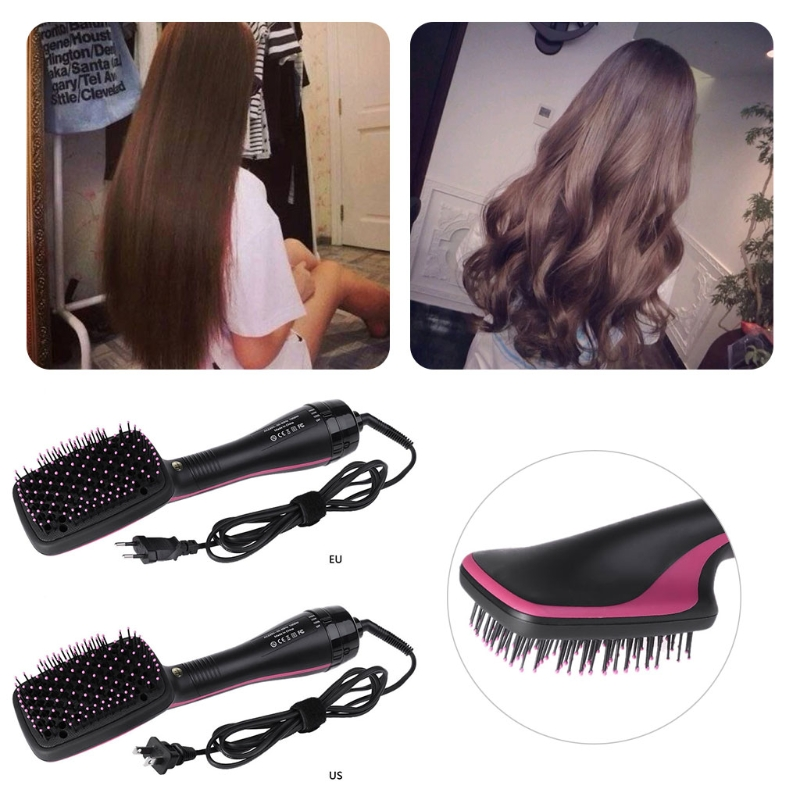MAANGE Fashion One Step Professional Negative Ions Heated Hair Dryer Straightener Styler Comb Hair Care Styling Tools US EU Plug