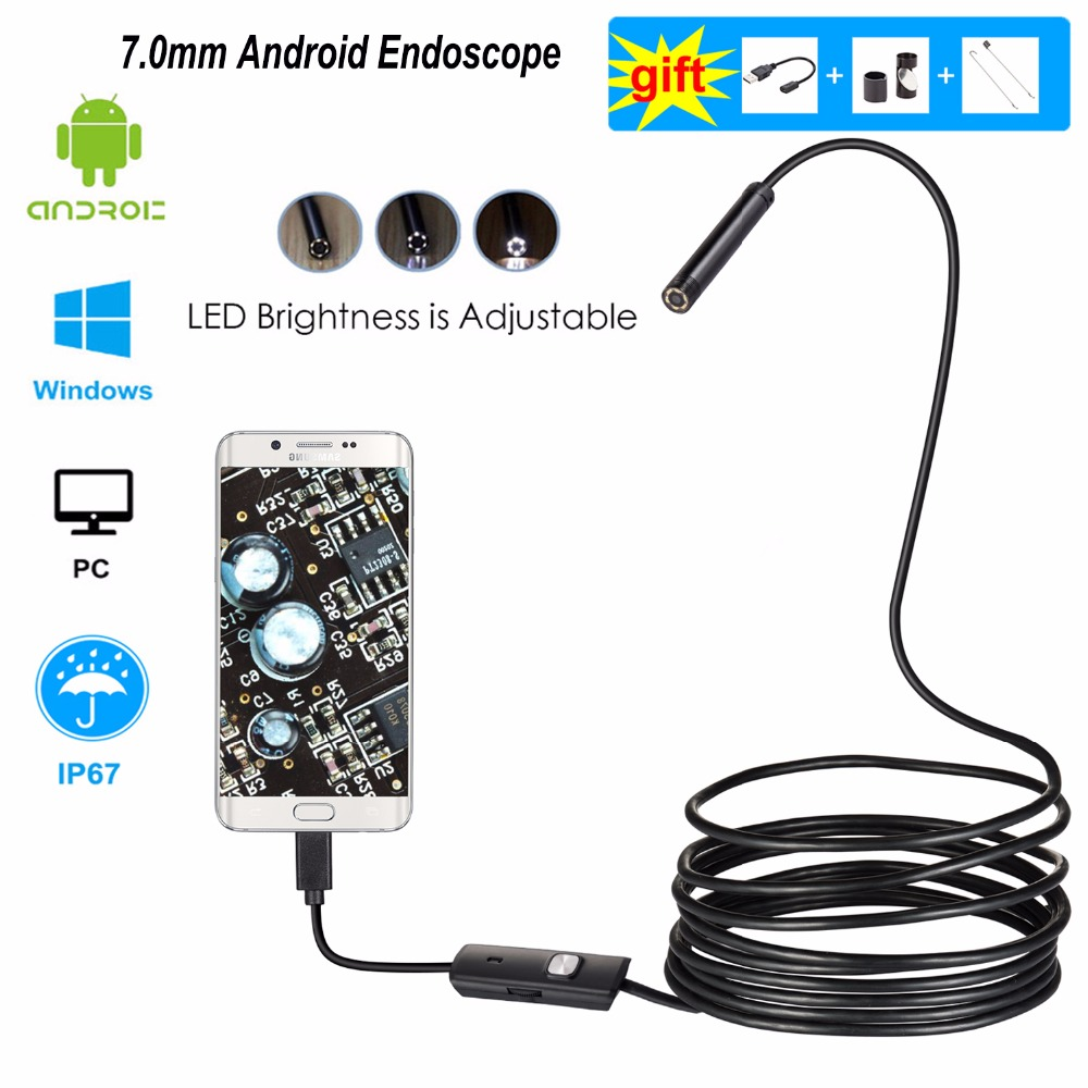 Android endoscopio Cámara 7mm 1/2/3/5 M Flexible serpiente inspección Cámara impermeable Video Borescope para Smartphone USB Windows PC