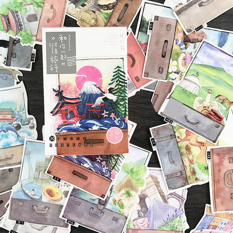 30 pcs/lot Travel with you postcard novelty scenery heteromorphism greeting card christmas card birthday message card gift cards 30 pcs lot novelty yard cat postcard cute animal heteromorphism greeting card christmas card birthday message card gift cards
