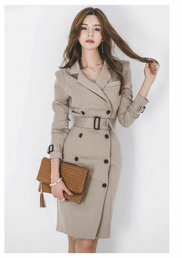 オフィスブレザーの女性のエレガントな Ol ビジネスペンシルドレスノッチ襟長袖ダブル Breated 作業ドレス