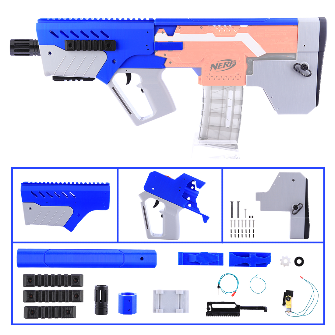 XSW STF Appearance Fully Automatic MXD-1 Refit Kit for Nerf stryfe - Blue + Gray 30 mxd 3000 30