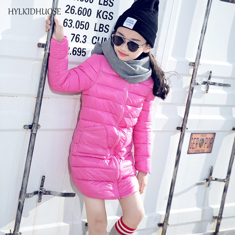 HYLKIDHUOSE 2017 Baby Girls Winter Coats Long Style Female Children Outerwear Warm Outdoor Kids Outerwear Parkas Student Jackets high quality children winter outerwear 2017 baby girls down coats jacket long style warm thickening kids outdoor snow proof coat