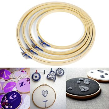 4 pcs Embroidery Hoop Circle Round Bamboo Frame Art Craft DIY Embroidery Cross Stitch needle 17 20 23 26cm Sewing Tools & Accessory