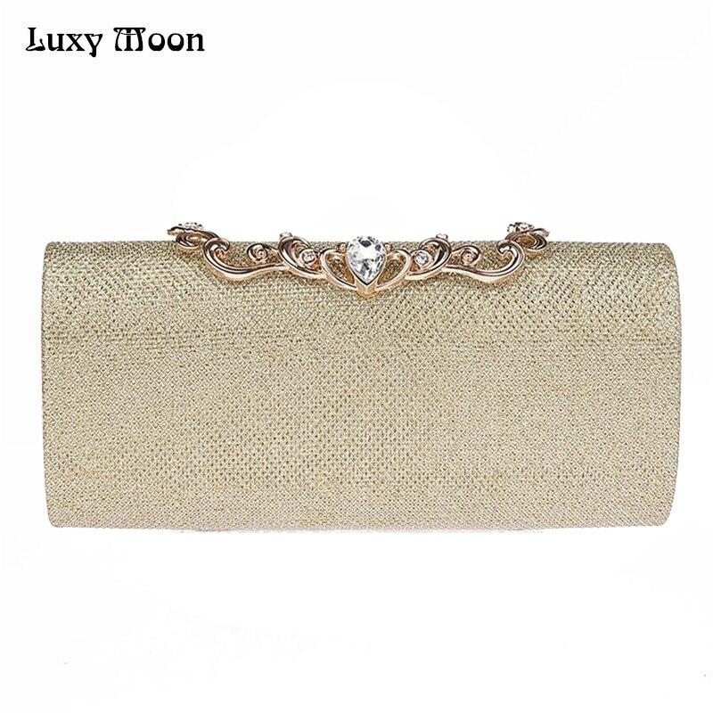 2017 Moda Oro Plata Bolsos de Noche de Lujo Del Diamante Bolsos de Embrague Día