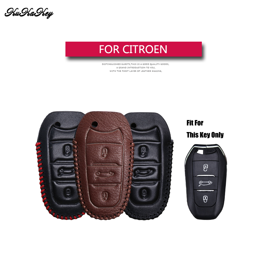 Genuine Leather Remote Keyless Car Key Case Cover For Citroen C5 C6 C4L C3XR for DS 3 4 5 7 Holder Bag Shell