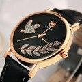Lujo yazole brand bling pájaro de la paloma de oro rosa de cuero relojes de pulsera de cuarzo reloj de pulsera para la mujer señoras no. 360 op001