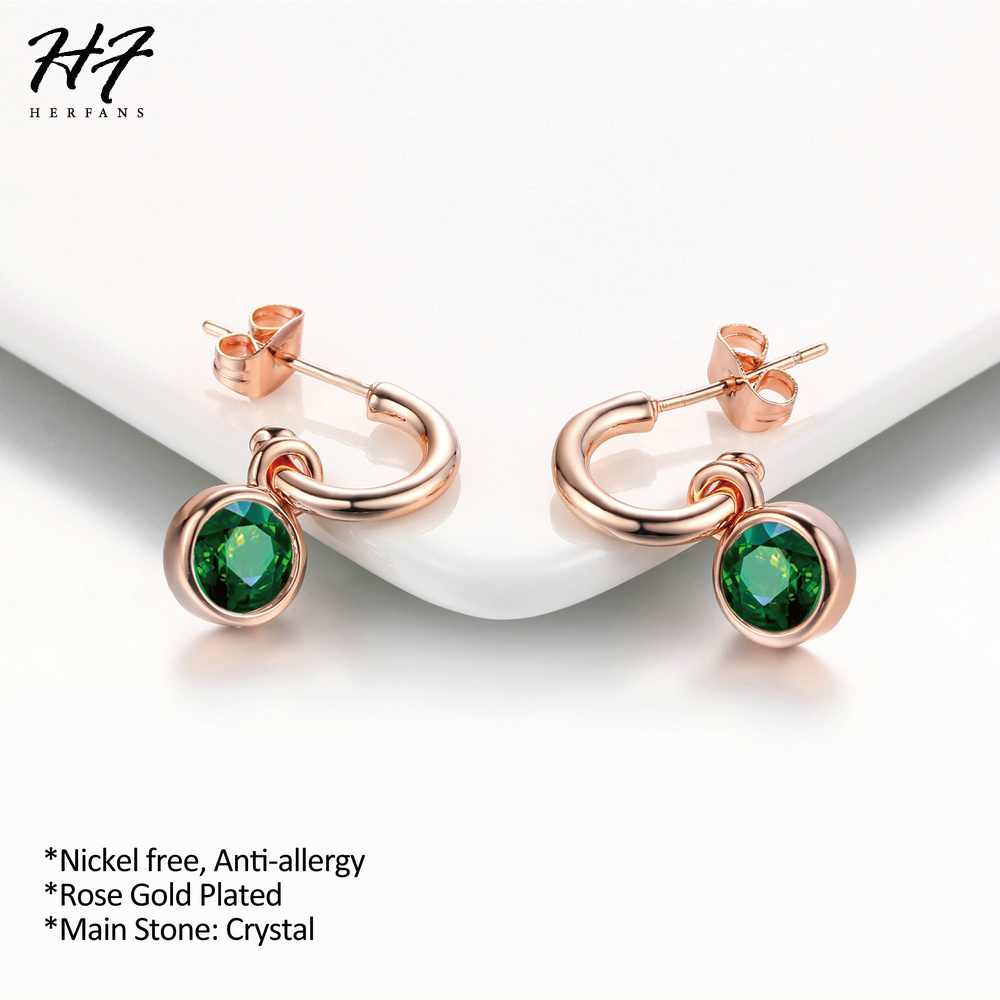 Top Quality Green Crystal Rose Gold Color Dangle Earrings Wedding Jewelry for Women Wholesale E207