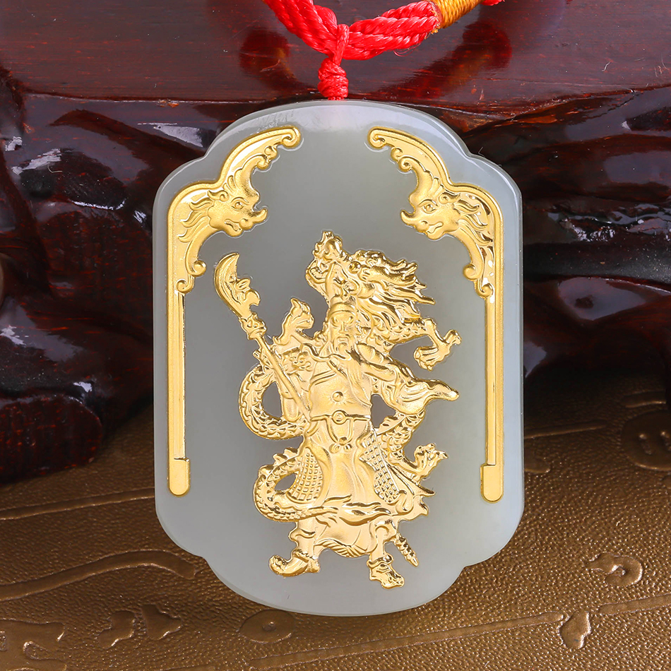 Fine Jewelry natural Hetian jade 24k yellow Gold White Jade Guan Yu Necklace Trendy pendant for Men gifts Box 8648