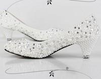 2014 New Handmade Fashion Lady Dress Shoes Wedding Shoes Bridal Shoes Pearl Low Heel
