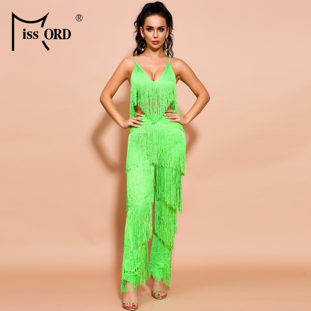 Missord 2019 Sexy Tassel Two Pcs Set Backless Jumpsuit Elegant Off Shoulder Neon Green Jumpsuit FT18835-1