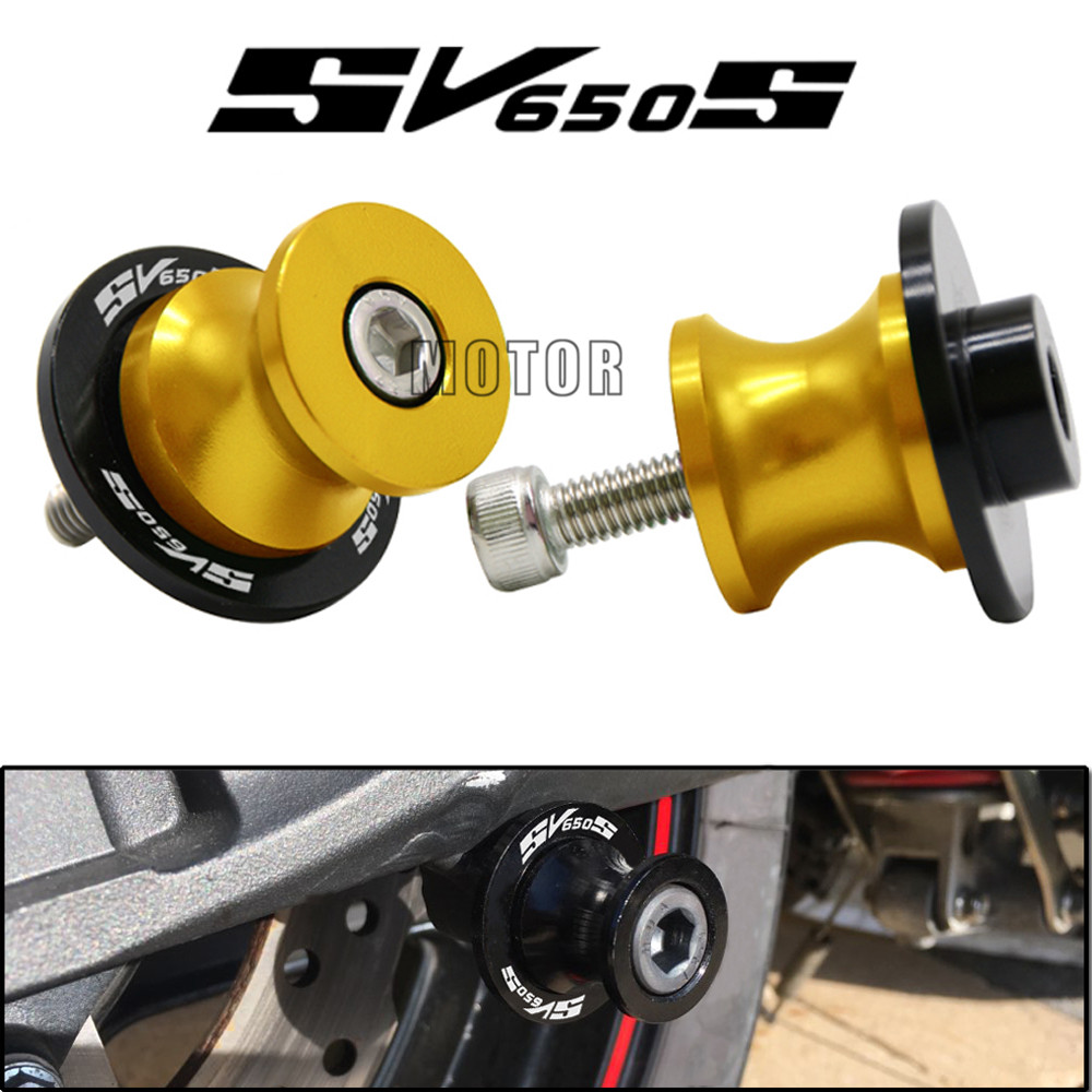 CNC 8MM Swingarm Stand Screws Slider For Suzuki SV650 SV650S SV1000 SV1000S All Year Swing Arm Cover Stand Paddock SV 650 1000 S