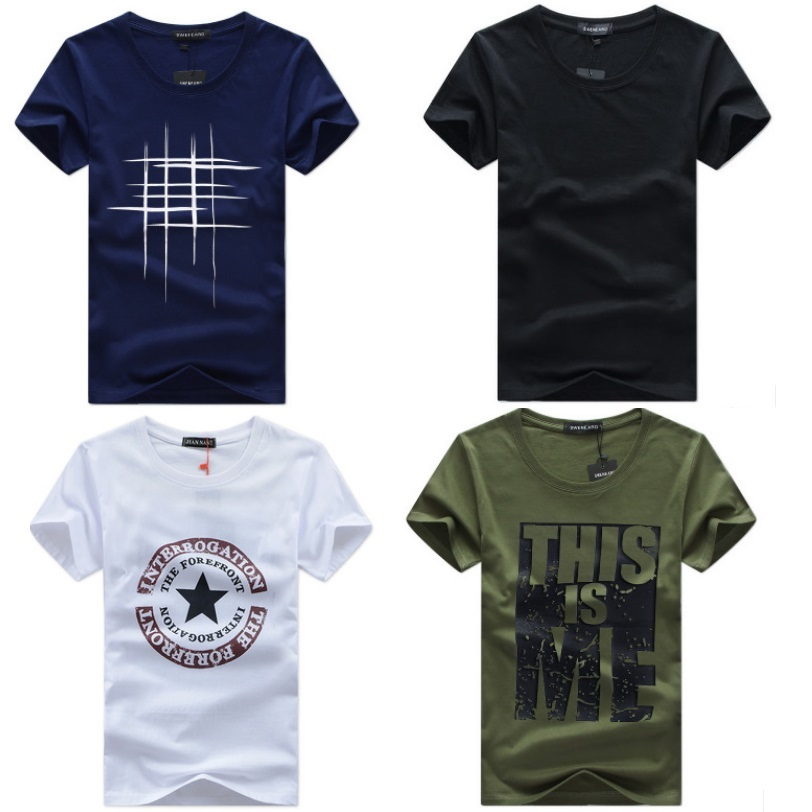 Men   T     Shirt   Solid Color and Print   T  -  shirt   Simple Male Casual Tshirt short sleeve O neck Asian size S to 5XL