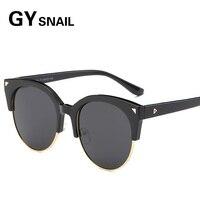 GYsnal Retro Rivet Polarized Sunglasses Men Women Classic Brand Designer Unisex Round Sun Glasses Half Frame