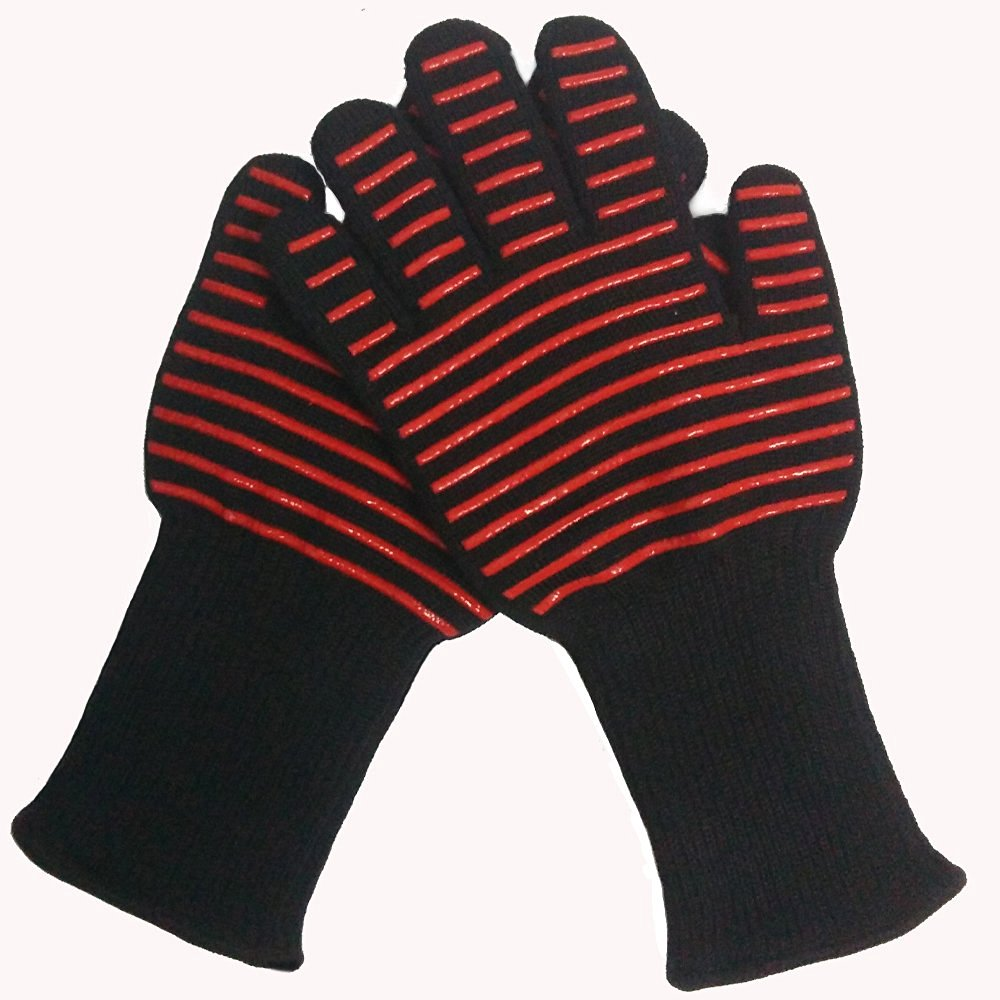932F Extreme Heat Resistant Oven Gloves | BBQ Gloves | Oven Mitts . Excellent for Grilling, Bakers, Cooking 1pair 932f new design bbq grill red silicone gloves heat resistant bbq gloves microwave oven glovesen 407