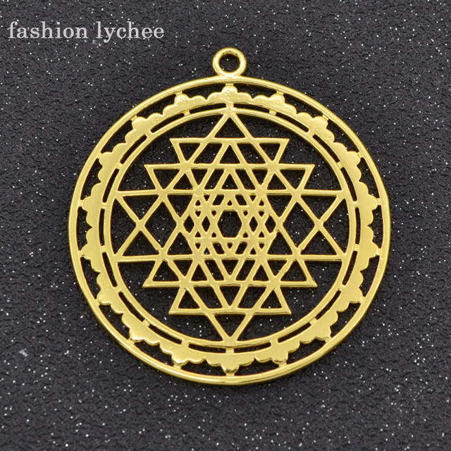 Fashion lychee antique gold color round copper hollow sri yantra fashion lychee antique gold color round copper hollow sri yantra pendant charm for necklace bracelet jewelry aloadofball Choice Image