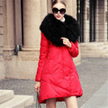 Winter European Style Fur Collar Long Cotton Padded Coat Wadded A-line Women Padded  Jacket Large Size Warm Thicker Parka TT125