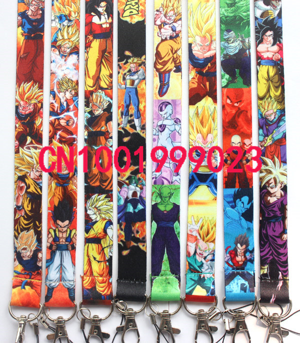 Wholesale 100pcs Japan cartoon Anime Dragon Ball key lanyards id badge holder keychain straps for mobile