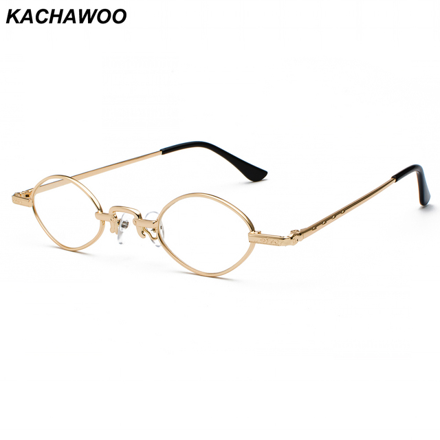 299a0589d4 Kachawoo small oval clear lens eye glasses frame men design metal vintage  nerd glasses women 2019 unisex gold black