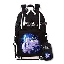 d95164d50bdf1 SıCAK Anime Yeniden Hayat gelen farklı bir dünya sıfır keten sırt çantası  re0 Rem Ram öğrenci
