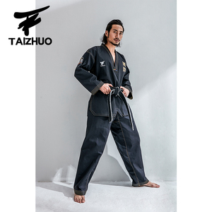 Image 2 - חדש למבוגרים זכר שחור לנשימה כותנה טאקוונדו אחיד טאקוונדו Dobok חליפה