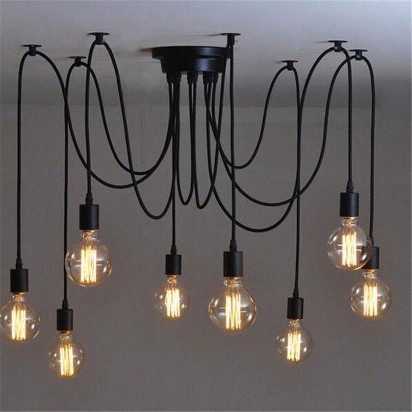 E27 Vintage Araignée Plafonnier Led Multi Bras Lustres avec Mezzanine Réglable Lamparas Luminaire Éclairage Lustre de Plafond