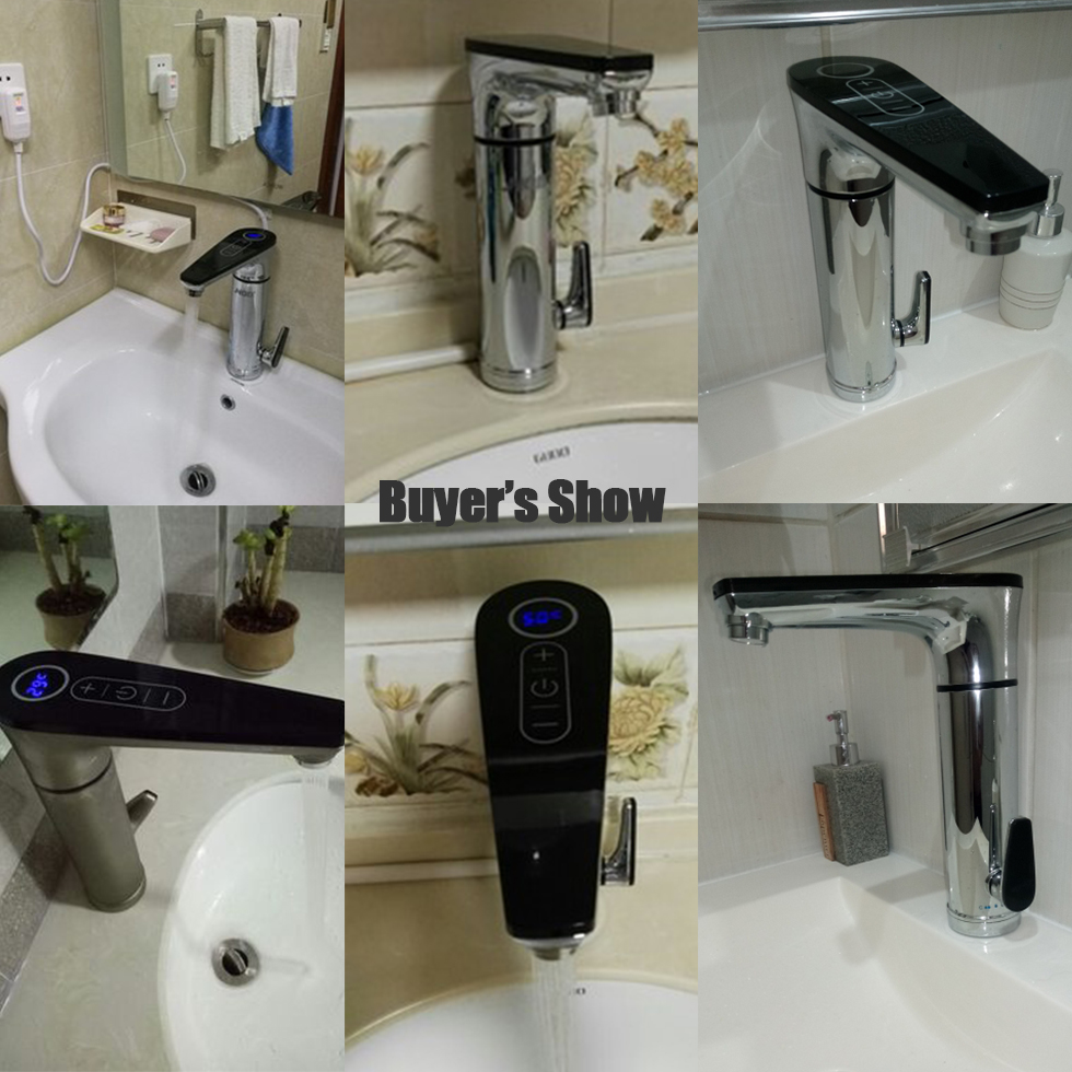 Купить с кэшбэком Kbxstart Electric Touch Faucet Thermostat Induction Heater Water Tap Have 220V GFCI Circuit Breaker Leakage Protector To Choose
