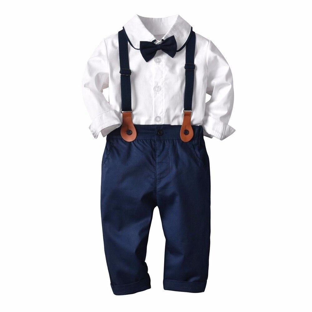 4e10c2cbc ... camisas blancas de algodón de manga larga + arco negro + Pantalones de  tirantes 3 piezas ropa de bebé Caballero conjunto de ropa de boda para niño