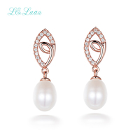 I&Zuan 925 Sterling Silver Stud Simple Fashion Earrings For Women Natural Freshwater White Round Pearl Earrings Fine Jewelry