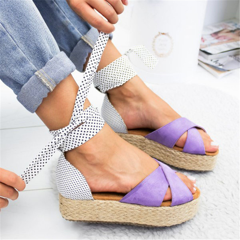 Oeak2019 Womens Sandal Ruffles Shoes Woman Cross Bandage Sandals Summer Shoes Flats Lace-up Ankle StrapOeak2019 Womens Sandal Ruffles Shoes Woman Cross Bandage Sandals Summer Shoes Flats Lace-up Ankle Strap