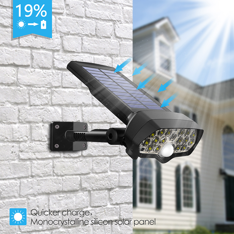 Shark LED Solar Light PIR Motion Sensor Powered Waterproof  Lamp For Outdoor Garden Wall