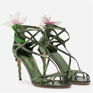 Image 3 - Luxury Lily Embellished Metallic Leather Strappy Stiletto Sandals Women Open Toe Ankle Strap Floral Heel Shoes Woman 2019 Summer