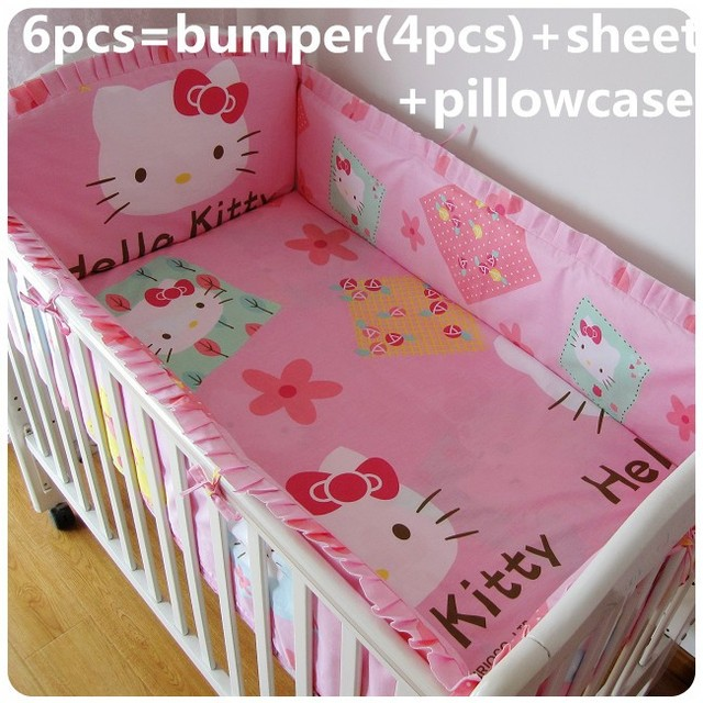Promotion! 6PCS Baby Cot Bedding Set Pink Girls Newborn Baby Bed Linens Cotton Cot Bumpers (bumpers+sheet+pillow cover)
