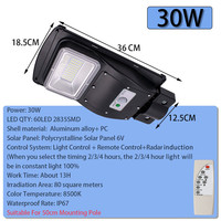 Smuxi 30W LED Solar Lamp Wall Street Light Radar Induction Outdoor Timing Lamp+Remote Waterproof Security Lamp for Garden Yard