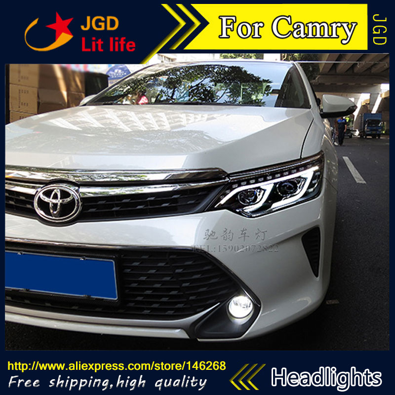 Free shipping ! Car styling LED HID Rio LED headlights Head Lamp case for Toyota Camry V55 2015 Bi-Xenon Lens low beam free shipping car styling led hid rio led headlights head lamp case for chevrolet camaro bi xenon lens low beam