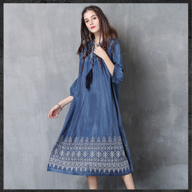 denim 2018 laterne blau quaste h baumwolle ausschnitt big retro v neue Frau herbst 6fyYb7g