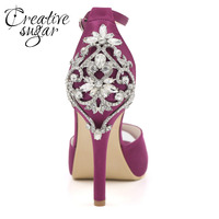 Creativesugar sexy D'orsay open toe platform satin dress shoes ankle strap crystals heels bridal wedding party evening pumps
