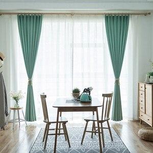 Image 3 - Cortinas opacas de Color turquesa para dormitorio, decoración de oficina, moderna, para ventana, sala de estar