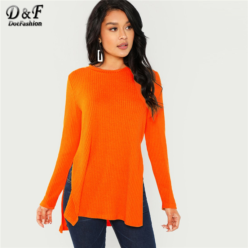 8125203999716 Detail Feedback Questions about Dotfashion Orange Dip Hem Split Side Casual  T Shirt Women Spring Autumn Plain Clothing Tops Female Round Neck Long  Sleeve ...